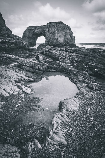 Sky Rock Water Rock - Object Beauty In Nature Solid Nature Rock Formation Scenics - Nature Cloud - Sky No People Tranquility Sea Tranquil Scene Day Land Outdoors Non-urban Scene Environment Eroded Ireland Europe Blackandwhite Landscape Seascape