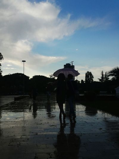 Afterstorm  Rain Rainday People Silhouette Umbrella Reflection Nature Sky Tirana Albania