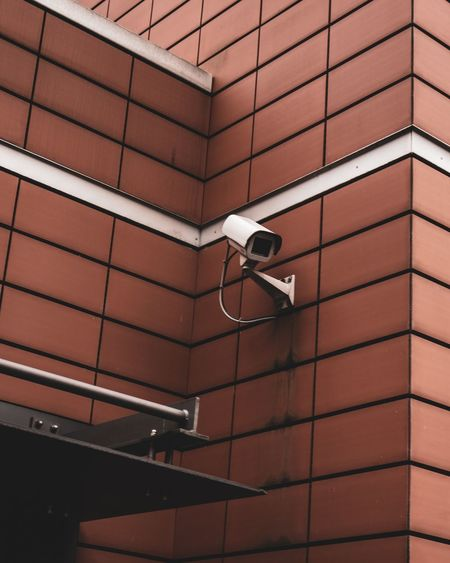 Low angle view of a security camera