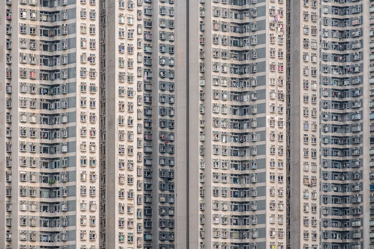 Apartment building exterior architecture in hong kong.