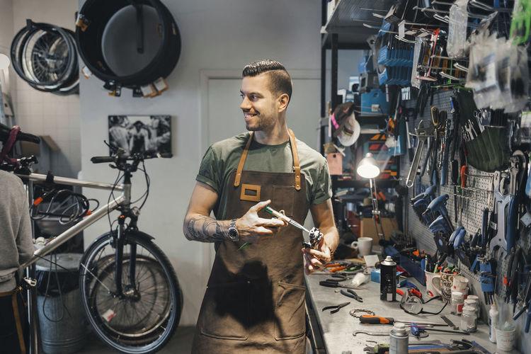 Man working on bicycle