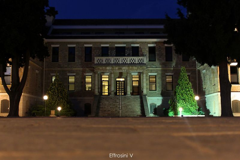 American farm school American Architectural Column Architecture Building Built Structure City Farm Library Lights Low Angle View Neoclassical Architecture Night School Sky Tree
