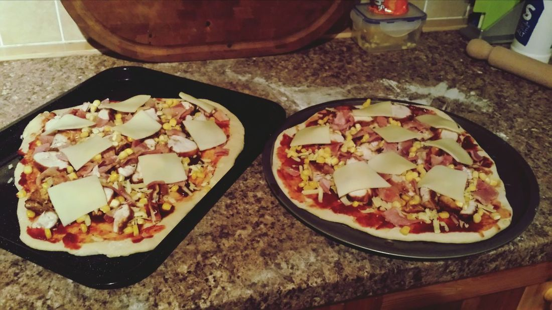 BBQ Chicken, bacon and sweetcorn pizzas all ready for the oven Homemade Pizza Whats For Dinner?