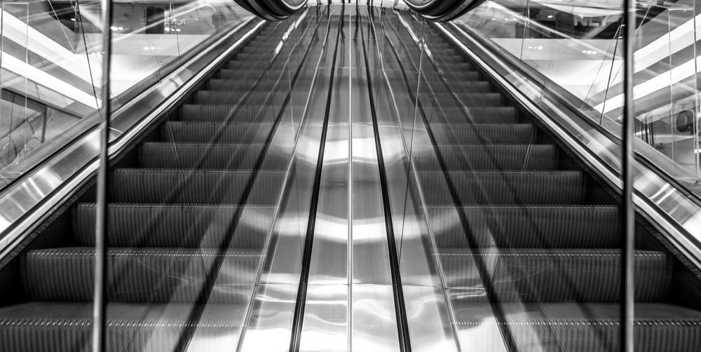 Best Of Stairways Black & White Reflection Architecture Black And White Built Structure Convenience Day Escalator Futuristic Glass - Material Indoors  Low Angle View Metal Modern No People Railing Staircase Steps Steps And Staircases Technology Transportation