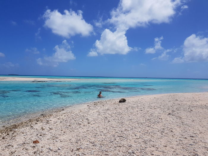 Beach Sea Cloud - Sky Sand Island Sky Blue Nature Idyllic Horizon Over Water Tropical Climate Vacations Travel Destinations Landscape Vacations French Polynesia Lost In The Landscape