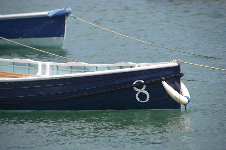 Water Nautical Vessel Boat Rope Mode Of Transport Sea Transportation Moored No People Day Outdoors Waterfront Nature Close-up Sailing No.8 Wooden Tender St Mawes Harbour Cornwall Uk Oars