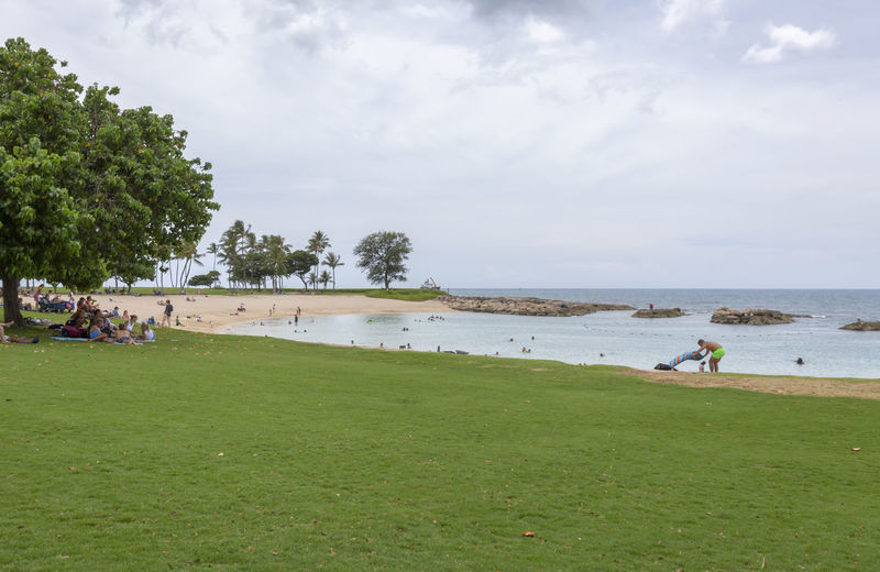 Ko Olina Lagoons Beach Park in Hawaii Beach Life Oahu Hawaii Vacations Beach Beauty In Nature Cloud - Sky Day Field Grass Green Color Group Of People Incidental People Ko Olina Lagoons Land Leisure Activity Nature Ocean Outdoors People Playing Sandy Sea Sky Tree Water