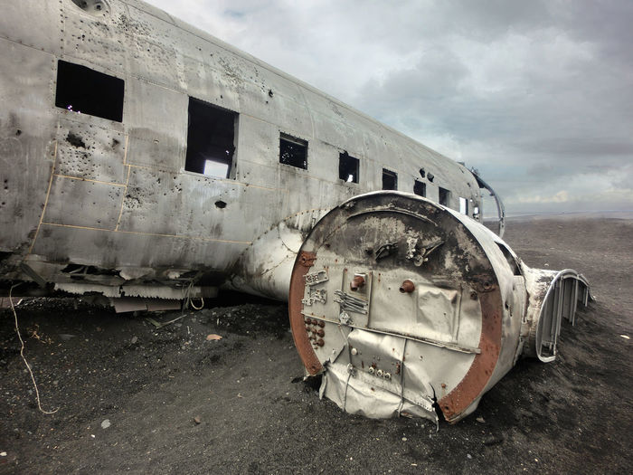 Iceland Plane Abandoned Accidents And Disasters Airplane Bleak Crash Damaged Day Deserted Desolate Destruction Deterioration Military Airplane No People Obsolete Old-fashioned Outdoors Run-down Rusty Sky Transportation