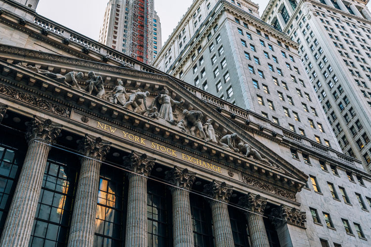 Low angle view of new york stock exchange in city