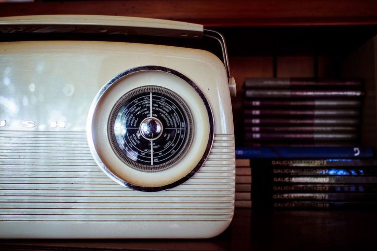 Close-up of vintage radio on table