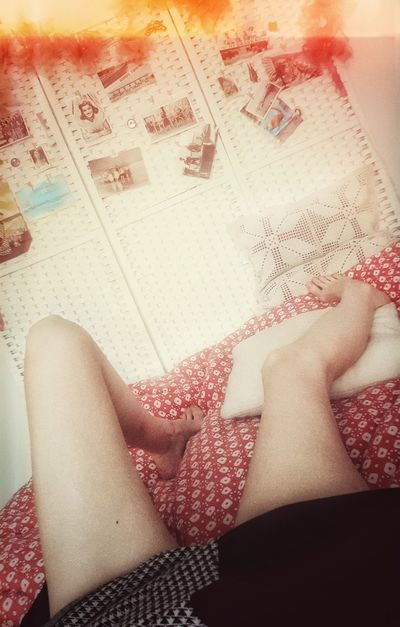It is raining outside. Indoors  One Person Human Body Part Low Section One Woman Only Day Legs On My Bed Legs And Feet
