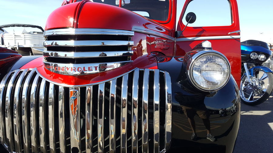 Auction Barrett Jackson  Pickuptruck Vintage Antique Pickup Chevy Truck Mode Of Transport Outdoors Red Land Vehicle Day No People