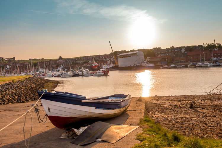 Whitby Whitby Harbour Whitby View Whitby North Yorkshire North Yorkshire Fishing Boat Harbour Harbour View Nautical Vessel River Esk Marina Slipway Water Sky No People Reflection River Rowboat Land Moored Sunset Harbor Beach Anchored Transportation