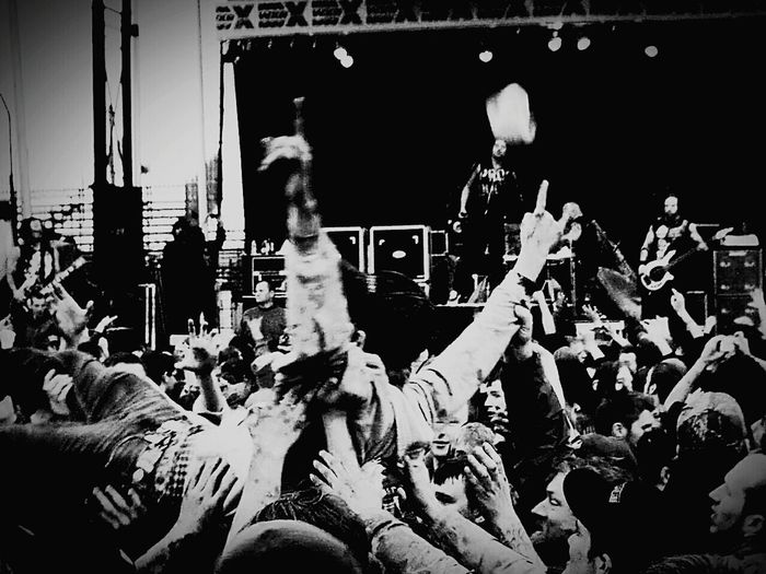 Shades Of Grey Rock'n'Roll rock Crowd Surfing Enjoying Life Black And White Music Festival For The Love Of Music