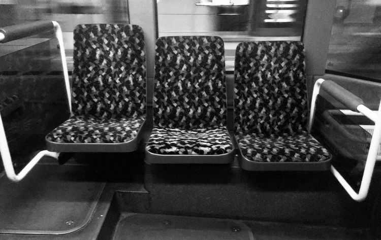 Three Empty Seats Black And White Monochrome Group Of Objects Public Transportation Empty IPhoneography EyeEmNewHere Indoors  No People In A Row Seat Chair