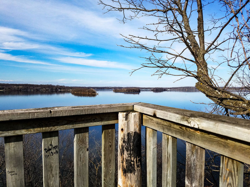 Sky Nature Trees Water No People Outdoors Beauty In Nature Day Wood Forest Freshness Explore Park Koronis Regional Park Minnesota Spring Springtime March 2017 Landscape Lake View Lake Koronis Lake Scenics Reflection Wooden Railing