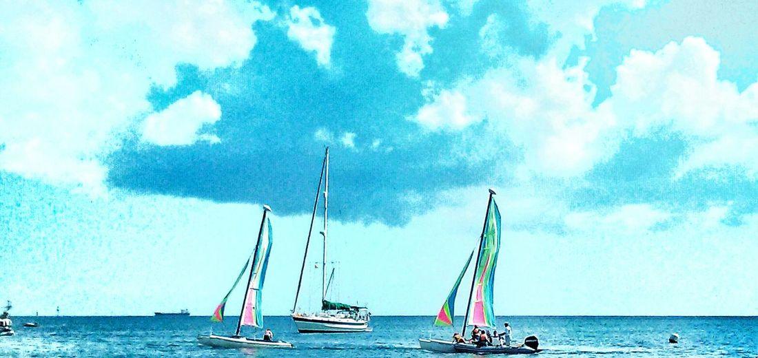 Sailing Boats Bay Sea And Sky