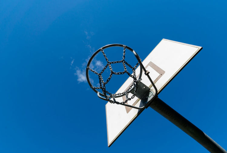 Basketball Basketball - Sport Basketball Hoop Blue Blue Sky Clear Sky Close-up Copy Space Court Day Directly Below Leisure Games Low Angle View Making A Basket No People Outdoors Sky Sport The Week On EyeEm