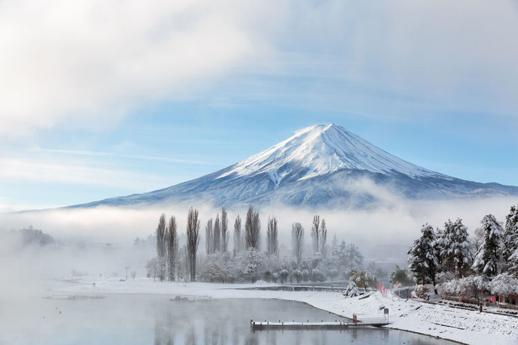 Japnese Beauty In Nature Cloud - Sky Cold Temperature Day Fog Fuji Idyllic Lake Mountain Mountain Peak Mountain Range Nature No People Power In Nature Scenics - Nature Sky Snow Snowcapped Mountain Tranquil Scene Tranquility Volcano Water Winter