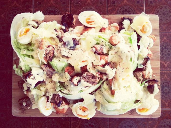 Dinner. Last minute Caeser Salad with chicken and homemade dressing