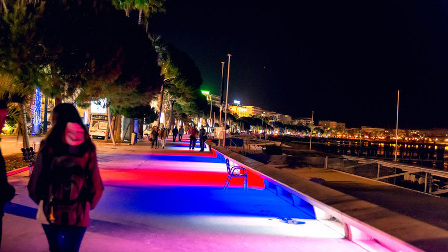 Promenade de la Croisette, Cannes France Illuminated Real People Night Lifestyles Women One Person Transportation Architecture Adult Built Structure City Leisure Activity Nature Rear View Lighting Equipment Standing Tree Mode Of Transportation Incidental People Outdoors Cannes, France Croisette