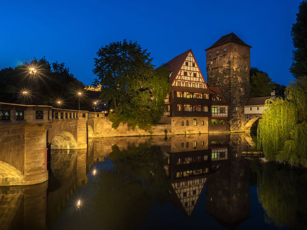 Nürnberg Bayern Germany Maxbrücke Wasserturm Weinstadel Architecture Bavaria Alps Bayern Beauty In Nature Building Exterior Built Structure Clear Sky Illuminated Nature Night No People Outdoors Sky Tree Water Waterfront