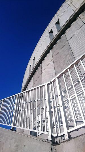 Tokyo,Japan Ikejiri-ohashi Concrete Architecture BIG Steps Blue Gray Metallic Bluesky