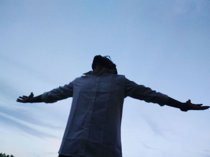 Arms Outstretched Arms Raised Happiness Sky