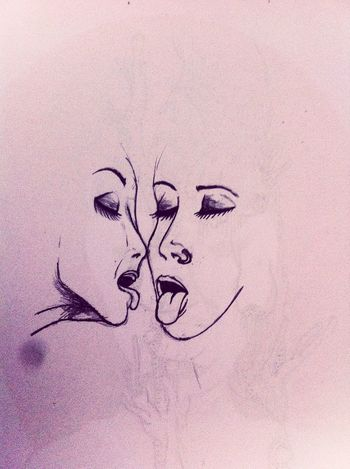 Woman Girls Love Grafito Drawing Kiss