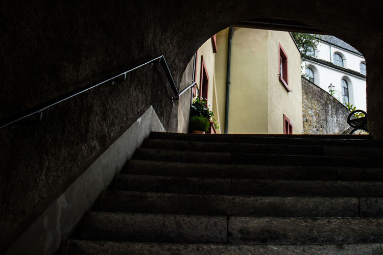 Licht am Ende Hoffnung Architecture Built Structure Darkness And Light Hopeful No People Steps Steps And Staircases
