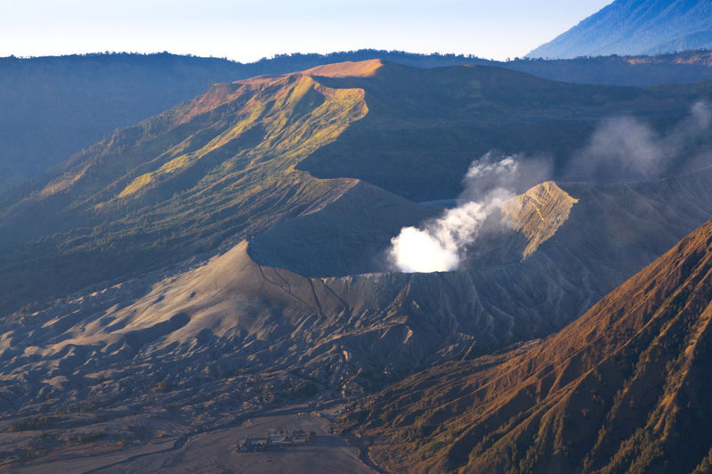 Aerial view of volcanic mountain