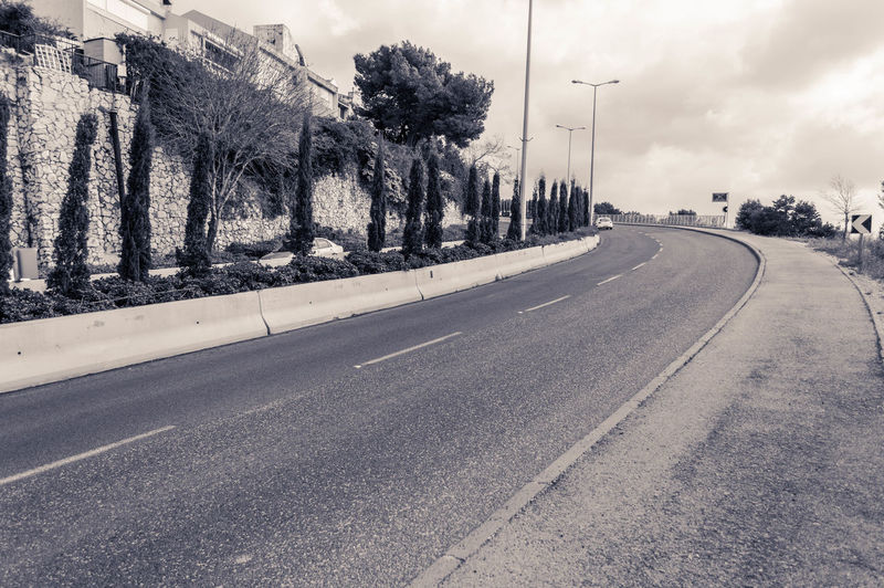 Empty Road Along The Wall