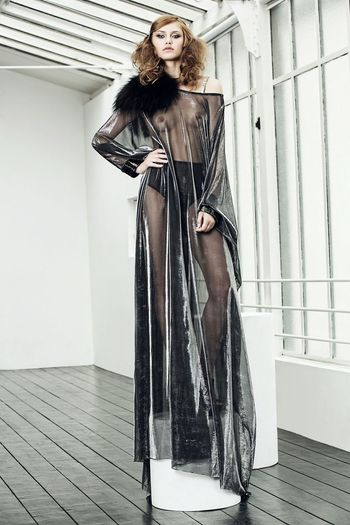 Black and silver Kaftan. FW15. Mink Fur Silver  Black Kaftan Luxury Classic Elegance Shooting Model Fashion