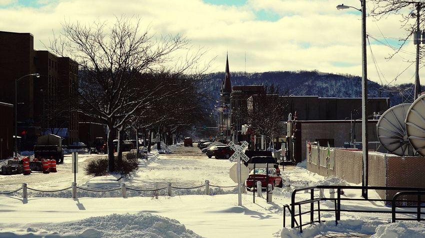 Snow Downtown Winona, MN. Winter Mainstreet