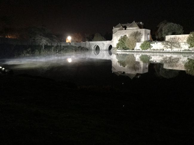 castle by knight Night Water Illuminated Outdoors No People Building Exterior Sky