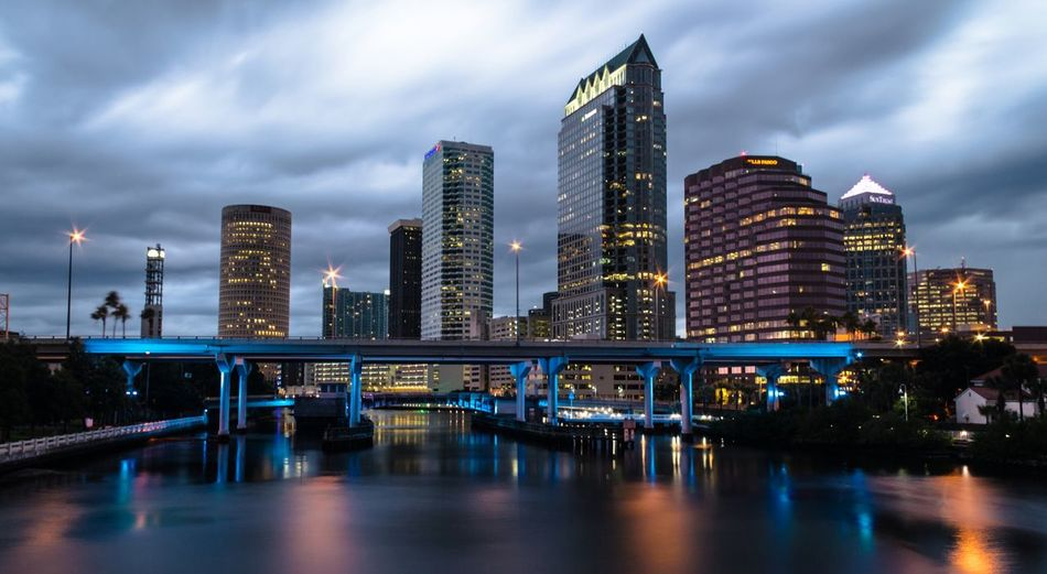 Downtown Tampa, Florida. Skyline Sunset Water Cityscape Blue Wave Fine Art Photography