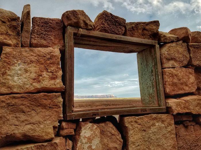Built Structure Cloud - Sky Old Ruin Window Arizona Landscape Marble Canyon Az