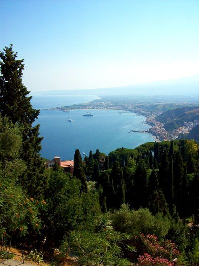 Plant Beach Day Sunlight Blue Water Tranquility Nature Day Growth Outdoors No People Physical Geography Green Color Scenics Beauty In Nature Clear Sky Taormina And Etna Teatro Antico Di Taormina Geology Sicily