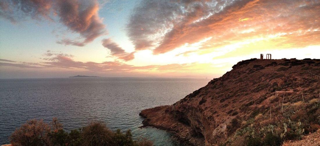 Sea Sunset Temple Of Poseidon Poseidon Greece Sounio Nature Tourism