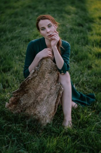 Young Women Portrait Beautiful Woman Full Length Sitting Beauty Women Happiness Females Redhead Human Knee Legs Crossed At Ankle Sundress Timothy Grass Human Leg
