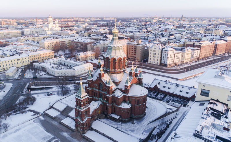 Church Drone  Finland Helsinki Scandinavia Streets Suomi Travel Aerial View Architecture Building Building Exterior Built Structure City Cityscape Cold Temperature Europe High Angle View Ilmakuva Nature Residential District Snow Sunrise TOWNSCAPE Winter