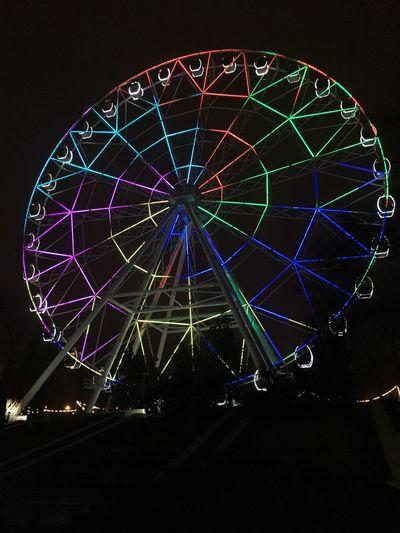колесообозрения ростов на дону Night Illuminated Arts Culture And Entertainment No People Ferris Wheel Low Angle View Built Structure Sky First Eyeem Photo