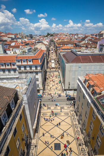 Very nice view of Lisbon Lisbon Lisbon - Portugal Portugal Architecture Building Exterior Built Structure City High Angle View Building Residential District Cloud - Sky Day Roof Sky Cityscape Nature Town Outdoors Crowd Transportation Sunlight House Travel Destinations TOWNSCAPE
