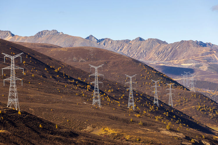 View of landscape against mountain range