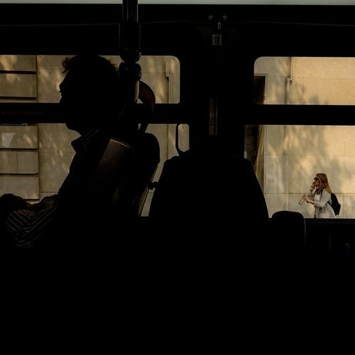 View from inside DC Metrobus during the afternoon commute.