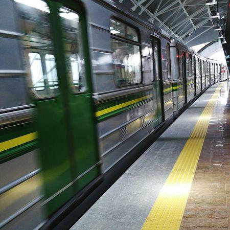 Metro Station Sofia Airport Subwayphotography Undergroundphotography Motion Yellow Lines