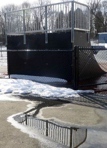Day Ice Hockey No People Outdoors Railing Snow Sport Stadium The City Light