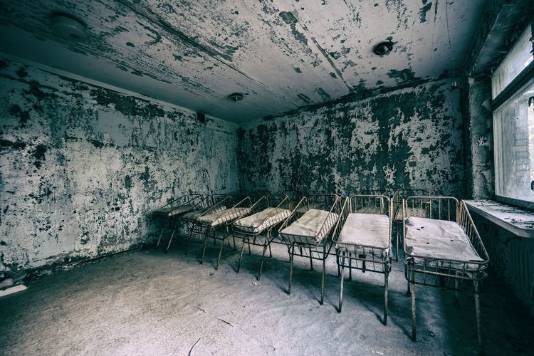 Cots in a pripyat  hospital