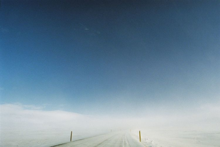 The Way Forward Blue Road Roadtrip No People Landscape Nature Snow Sky Analog Fresh On Eyeem  Freshness Canonae1 The Week On Eyem Iceland Cold Temperature