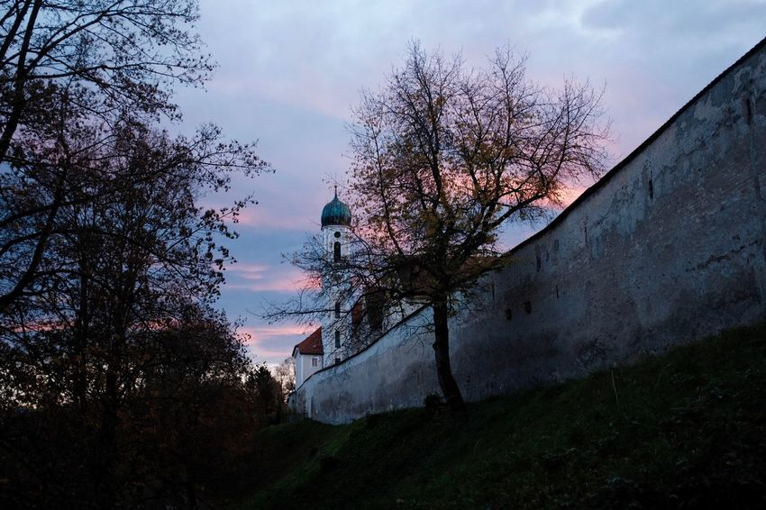Building Exterior Cloud - Sky Sunset Building Low Angle View Wall - Building Feature Branch Dusk Schongau